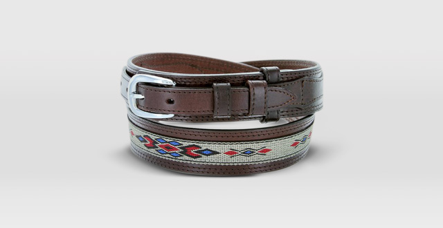 05.-Mens-Genuine-Leather-Ranger-Belt-with-Southwestern-Woven-Diamond-Pattern-Accent