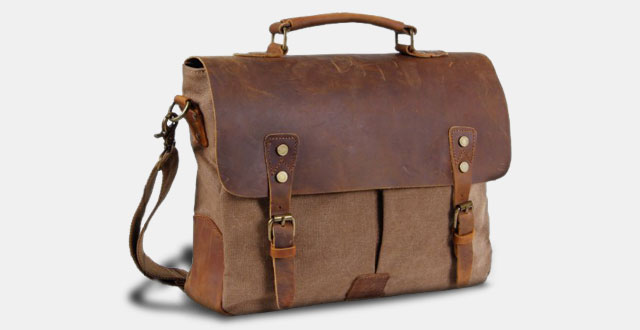 1,-Langforth-Genuine-Leather-Vintage-14-Laptop-CanvasMessenger-Satchel-Bag-Coffee