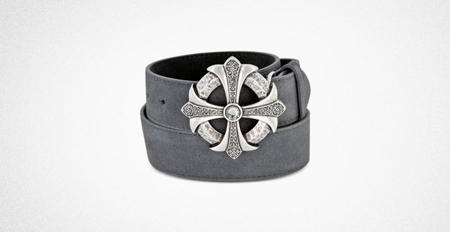 10.-Rhinestone-Cross-Celtic-Buckle-Suede-Leather-Belt-1.5-(38mm)-Wide