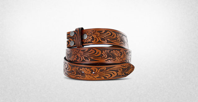 12.-Western-Embossed-Black-Brown-Leather-Belt-Strap-w--Snaps-for-Interchangeable-Buckles