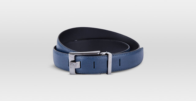 13.-Versace-Collection-Blue-Grained-Leather-Silver-Buckle-Adjustable-Belt