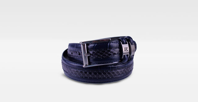 14.-Stacy-Adams-6-027-Genuine-Snake-Skin-w--Leather-Embossed-Croco-and-Lizard-Mens-Adjustable-Belt,-Nuckle-Brushed-Buckle