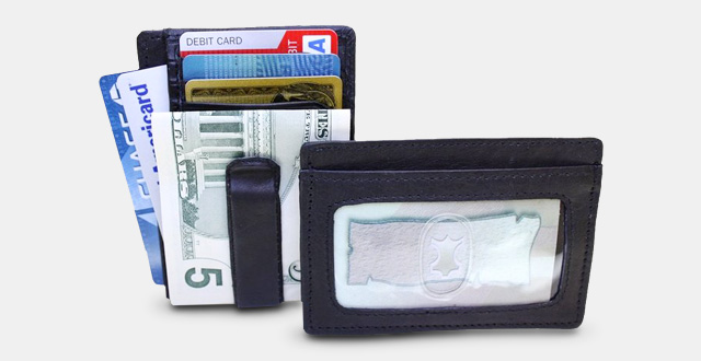10-fine-leather-mens-mini-front-pocket-wallet-id-credit-card-holder-with-metal-spring-clip
