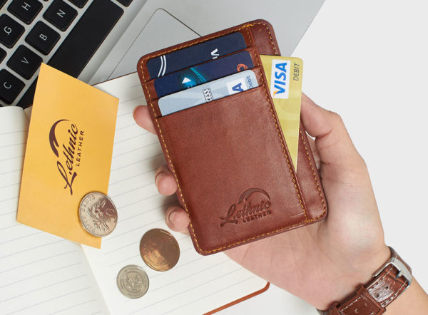 Slim Wallet RFID Blocking With ID Window by Lethnic