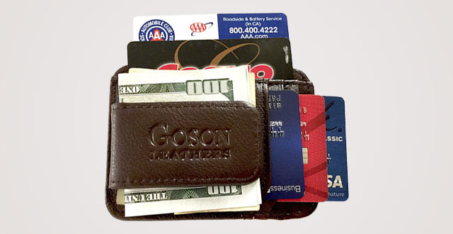 d2be9059f095 Goson Men s Leather Front Pocket Card Holder Wallet with Magnetic Money Clip