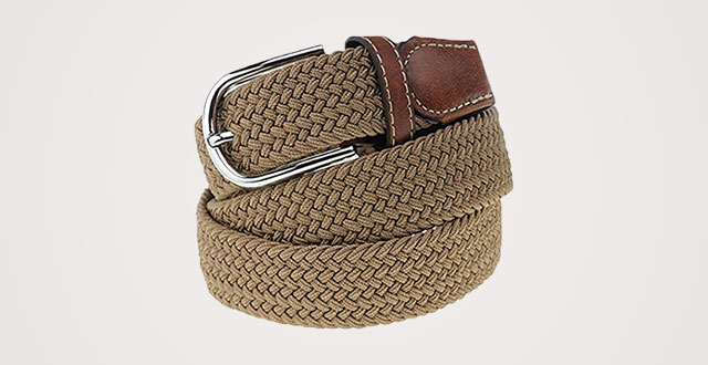 86fb5efb07eb2 NYFASHION101 Rounded Metal Buckle Brown Inlay Elastic Braided Woven Stretch  Belt