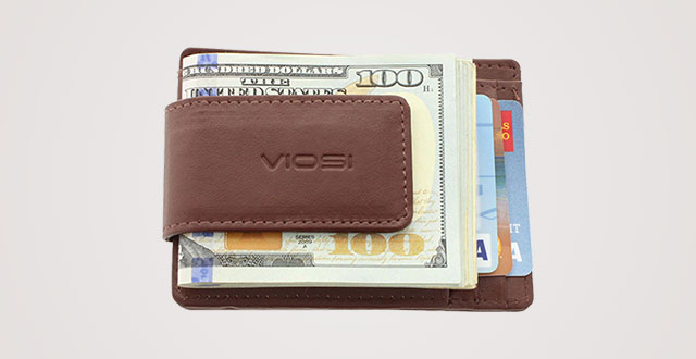 1877251d8e5d Viosi Genuine Kingston Leather Magnetic Front Pocket Money Clip Made with  Powerful RARE EARTH Magnets