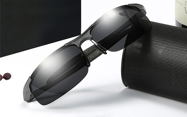 SX Mens Aluminum-Magnesium Polarized Sunglasses Driving Fashion Trend Sunglasses Color : Black Frame